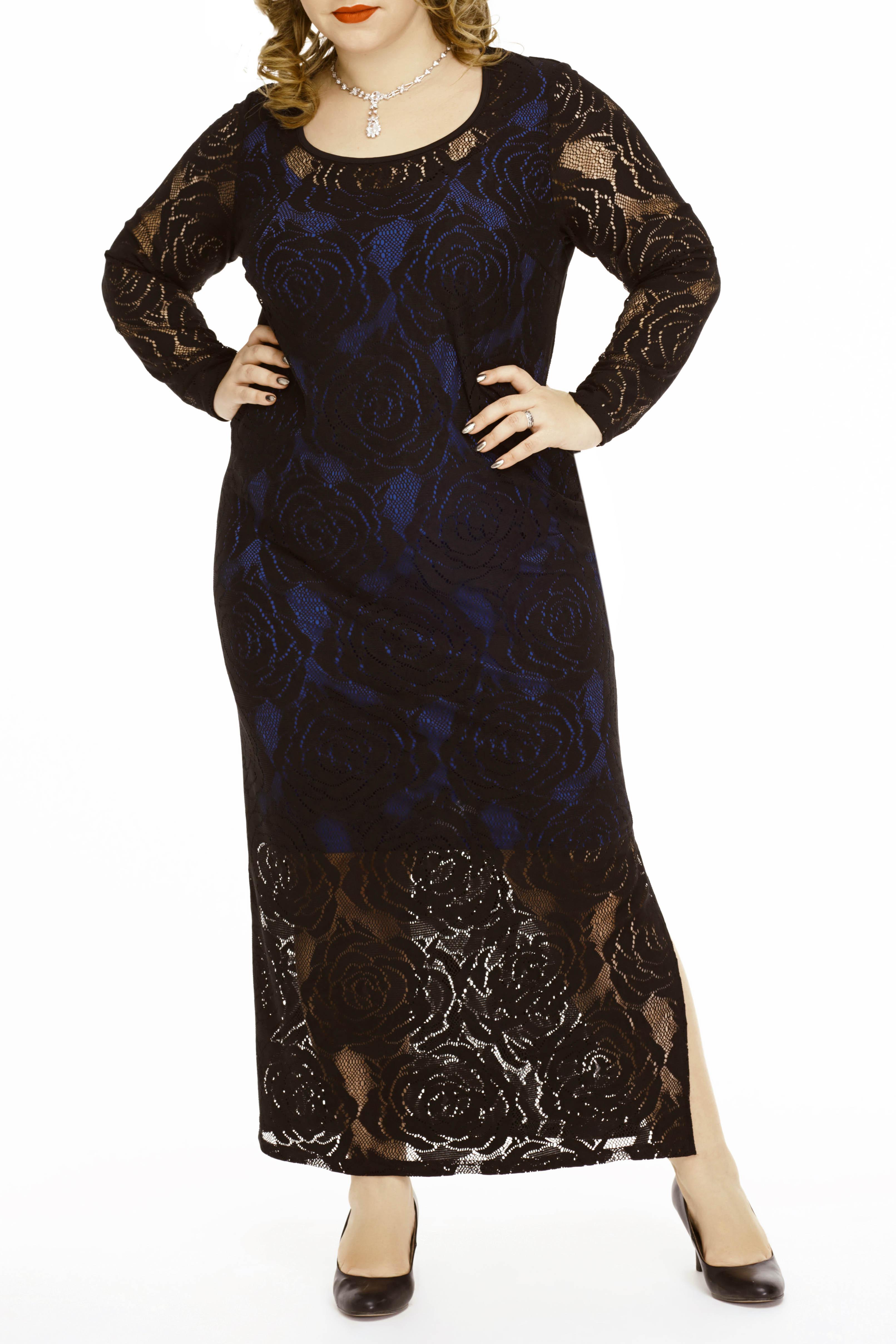 ПлатьеПлатья<br>Шикарное, нарядное платье, состоящее из легкого, трикотажного подклада и гипюровой основы. Будьте уверены, что дамы с аппетитными формами могут выглядеть соблазнительно  Цвет: синий (подклад), черный (гипюр)  Ростовка изделия 170 см.<br><br>Горловина: С- горловина<br>По длине: Макси<br>По материалу: Гипюр<br>По рисунку: Цветные<br>По сезону: Весна,Зима,Лето,Осень,Всесезон<br>По силуэту: Полуприталенные,Приталенные<br>По стилю: Нарядный стиль,Вечерний стиль<br>По элементам: С декором,С подкладом,С разрезом<br>Рукав: Длинный рукав<br>Размер : 50<br>Материал: Холодное масло + Гипюр<br>Количество в наличии: 1