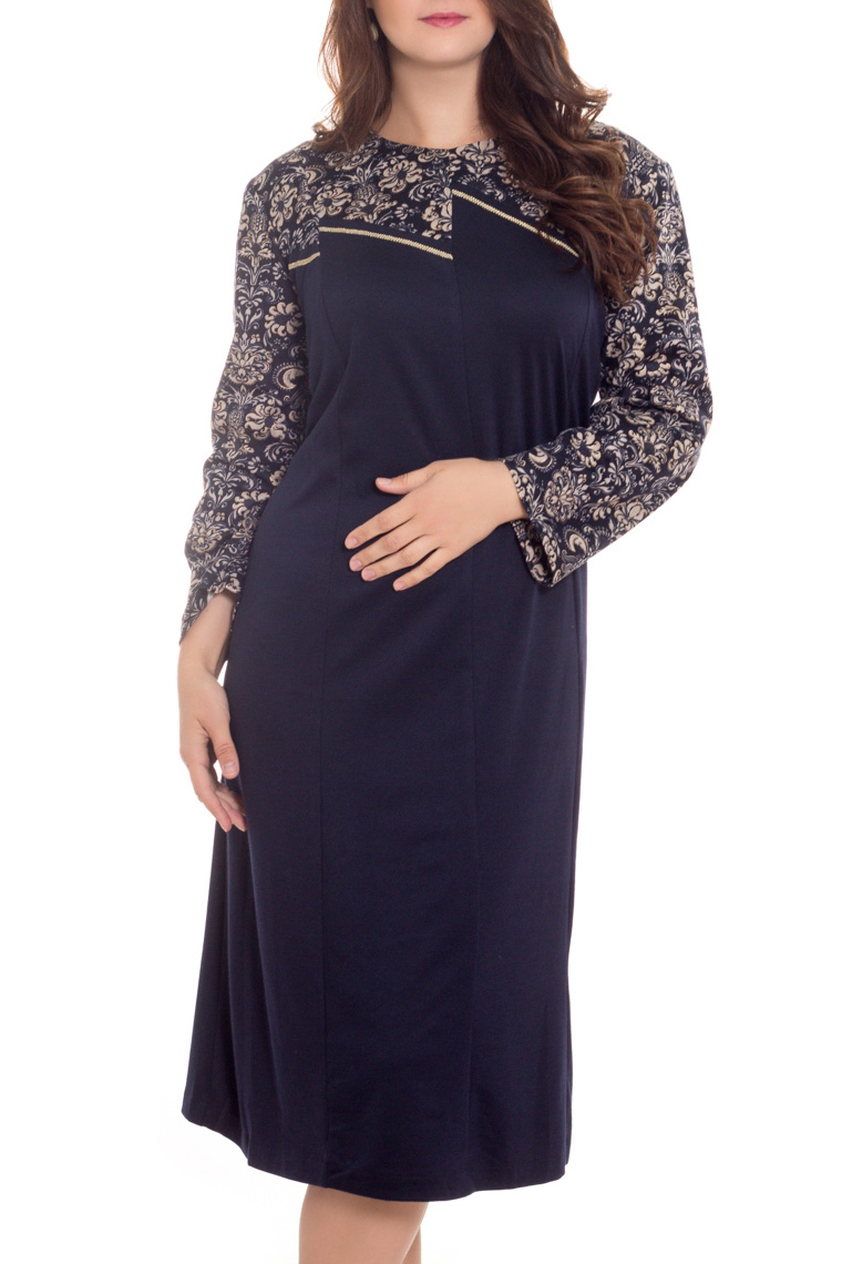 ПлатьеПлатья<br>Женское платье с круглой горловиной и длинными рукавами. Модель выполнена из плотного трикотажа. Отличный выбор для повседневного гардероба.  В изделии использованы цвета: темно-синий, бежевый  Рост девушки-фотомодели 180 см.<br><br>Горловина: С- горловина<br>По длине: Ниже колена<br>По материалу: Вискоза,Трикотаж<br>По рисунку: Растительные мотивы,С принтом,Цветные,Цветочные<br>По силуэту: Полуприталенные<br>По стилю: Повседневный стиль<br>По форме: Платье - трапеция<br>Рукав: Длинный рукав<br>По сезону: Осень,Зима<br>Размер : 62,64,66,68,70,76,78<br>Материал: Трикотаж<br>Количество в наличии: 7