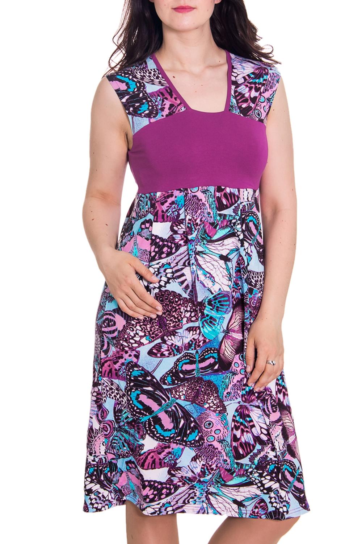 ПлатьеПлатья<br>Женское домашнее платье без рукавов. Домашняя одежда, прежде всего, должна быть удобной, практичной и красивой. В платье Вы будете чувствовать себя комфортно, особенно, по вечерам после трудового дня.  Цвет: фиолетовый и др.  Рост девушки-фотомодели 180 см.<br><br>Горловина: V- горловина<br>По материалу: Вискоза,Трикотаж<br>По рисунку: Цветные,Бабочки,С принтом<br>По силуэту: Полуприталенные<br>По форме: Платья<br>По сезону: Лето,Весна,Зима,Осень,Всесезон<br>По длине: До колена<br>Рукав: Без рукавов<br>Размер : 48<br>Материал: Вискоза<br>Количество в наличии: 1