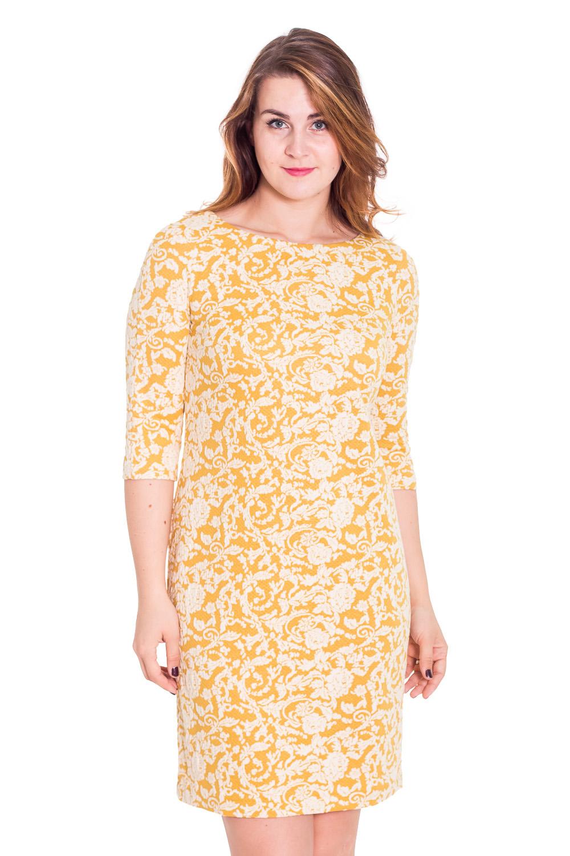 ПлатьеПлатья<br>Красивое платье с круглой горловиной и рукавами 3/4. Модель выполнена из фактурного жаккарда. Отличный выбор для любого случая.   Цвет: белый, желтый  Рост девушки-фотомодели 180 см.<br><br>Горловина: С- горловина<br>По длине: До колена<br>По материалу: Жаккард<br>По образу: Выход в свет,Город,Свидание<br>По рисунку: Абстракция,Цветные<br>По сезону: Весна,Всесезон,Зима,Лето,Осень<br>По силуэту: Полуприталенные<br>По стилю: Повседневный стиль<br>По форме: Платье - футляр<br>Рукав: Рукав три четверти<br>Размер : 46,48,50,52<br>Материал: Жаккард<br>Количество в наличии: 2