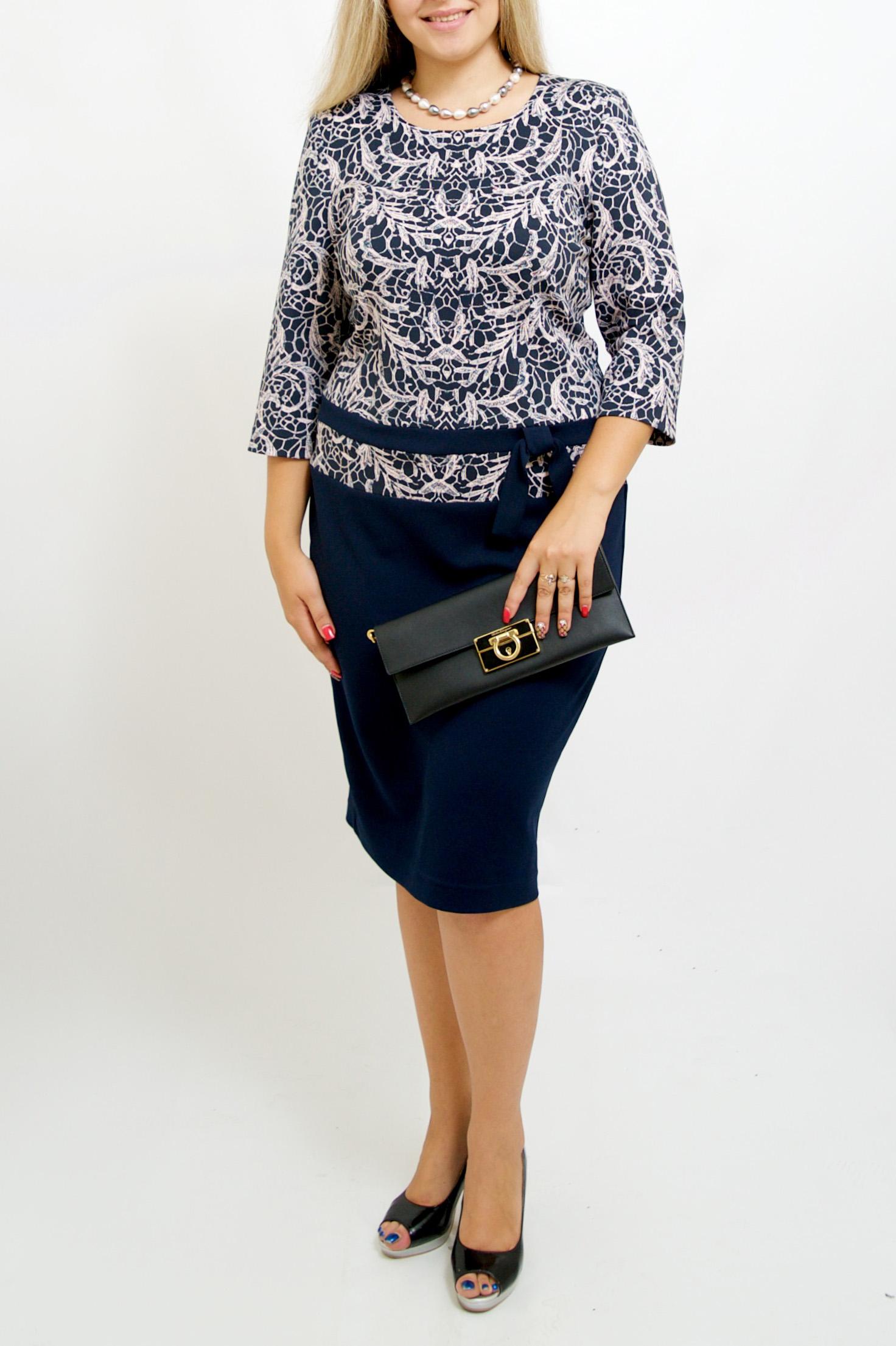ПлатьеПлатья<br>Нарядное платье с круглой горловиной и рукавами 3/4. Модель выполнена из приятного материала. Отличный выбор для любого случая.  В изделии использованы цвета: синий, светло-розовый  Ростовка изделия 170 см.<br><br>Горловина: С- горловина<br>По длине: Ниже колена<br>По материалу: Вискоза,Трикотаж<br>По рисунку: С принтом,Цветные<br>По силуэту: Приталенные<br>По стилю: Нарядный стиль,Повседневный стиль<br>По форме: Платье - футляр<br>По элементам: С баской,С разрезом<br>Разрез: Шлица<br>Рукав: Рукав три четверти<br>По сезону: Осень,Весна,Зима<br>Размер : 48-50,64-68<br>Материал: Трикотаж<br>Количество в наличии: 3