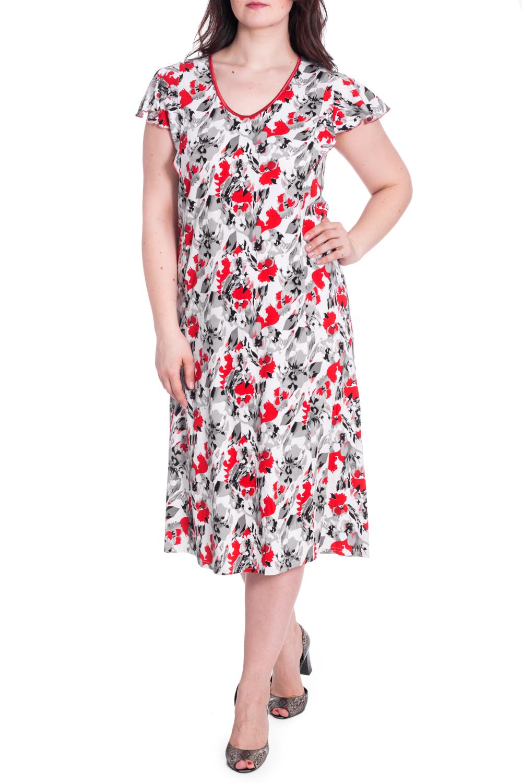 ПлатьеПлатья<br>Цветное платье с короткими рукавами. Модель выполнена из мягкой вискозы. Отличный выбор для повседневного гардероба.  В изделии использованы цвета: белый, серый, красный и др.  Рост девушки-фотомодели 180 см<br><br>Горловина: С- горловина<br>По длине: Ниже колена<br>По материалу: Вискоза<br>По рисунку: Растительные мотивы,С принтом,Цветные,Цветочные<br>По силуэту: Полуприталенные<br>По стилю: Летний стиль,Повседневный стиль<br>Рукав: Короткий рукав<br>По сезону: Лето<br>Размер : 52,54,56,58,62<br>Материал: Вискоза<br>Количество в наличии: 7