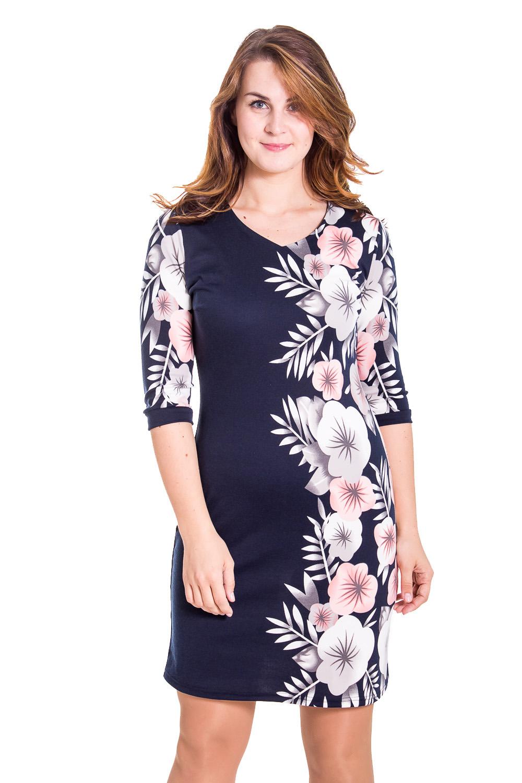 ПлатьеПлатья<br>Красивое женское платье с круглой горловиной и рукавами 3/4. Модель выполнена из приятного трикотажа. Отличный выбор для повседневного гардероба.  Цвет: синий, белый, розовый  Рост девушки-фотомодели 180 см.<br><br>По образу: Город,Свидание<br>По стилю: Повседневный стиль<br>По материалу: Вискоза,Трикотаж<br>По рисунку: Растительные мотивы,Цветочные,Цветные<br>По сезону: Весна,Осень<br>По силуэту: Полуприталенные<br>По длине: До колена<br>Рукав: Рукав три четверти<br>Горловина: С- горловина<br>Размер: 46,48,50,52,54,56,58<br>Материал: 95% вискоза 5% лайкра<br>Количество в наличии: 3