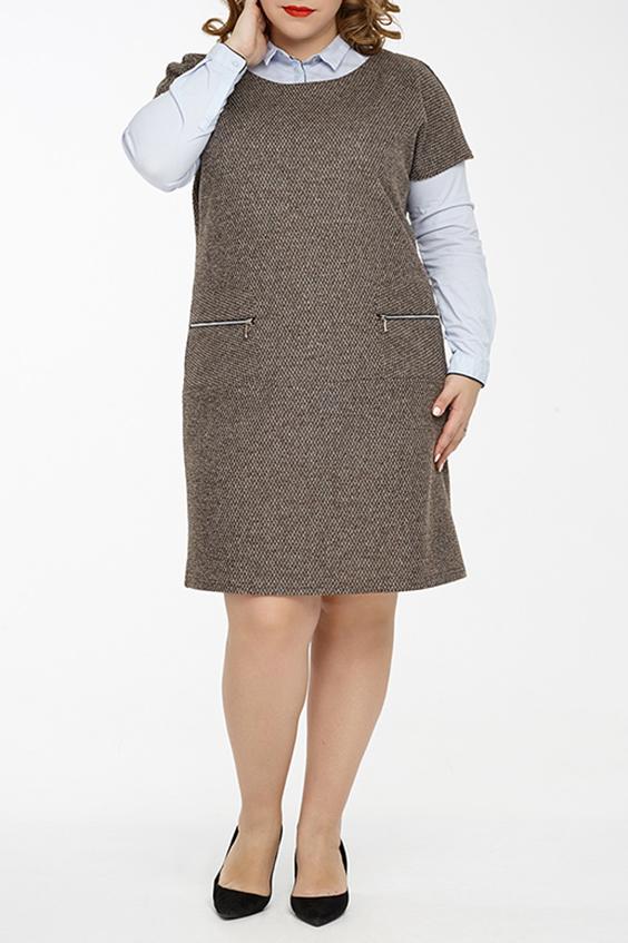 Платье - сарафанПлатья<br>Универсальное трикотажное платье для активных женщин ценящих практичность и комфорт. В прохладное время года изделие можно сочетать с различными элементами гардероба, например, с блузкой или вололазкой. Также платье можно использовать как самостоятельный элемент гардероба.  Превосходное женское платье - сарафан прямого силуэта, выполнен из плотного трикотажного полотна. Вырез горловины круглый обработан обтачкой. Линия плеча занижена. Полочка оформлена накладными карманами с металлическими молниями. Под карманами, на полочке и спинке выполнен декоративный горизонтальный подрез.  Длина изделия по спинке: около 92 см Цвет: коричневый.  Ростовка изделия 170 см.<br><br>Горловина: С- горловина<br>По длине: До колена<br>По материалу: Трикотаж<br>По рисунку: Однотонные<br>По силуэту: Прямые<br>По стилю: Классический стиль,Кэжуал,Офисный стиль,Повседневный стиль<br>По форме: Платье - футляр<br>По элементам: С карманами,С отделочной фурнитурой<br>Рукав: Короткий рукав<br>По сезону: Осень,Весна,Зима<br>Размер : 50,52,54,56,58<br>Материал: Трикотаж<br>Количество в наличии: 9