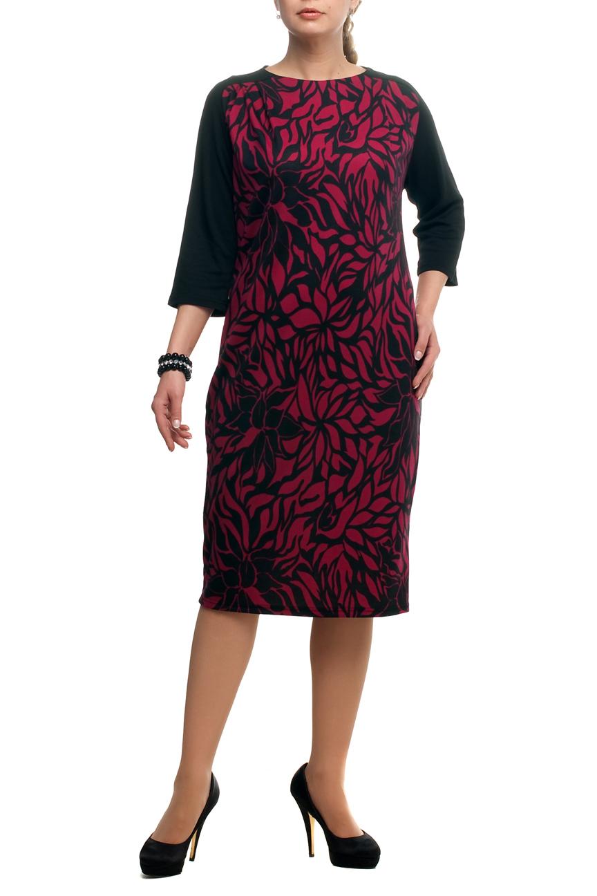 ПлатьеПлатья<br>Зимой особенно хочется тепла и уюта, поэтому обратите свое внимание на это платье. Выполненное из плотного, комфортного в носке трикотажа, оно согреет вас в холодные и ненастные дни. Платье сшито таким образом, что даже дама с довольно пышными формами сможет с уверенностью носить его: все проблемные зоны будут надежно скрыты. Такое платье подойдет как для повседневной носки, так и праздничного мероприятия.   В изделии использованы цвета: черный, розовый  Рост девушки-фотомодели 173 см.<br><br>Горловина: С- горловина<br>По длине: Ниже колена<br>По материалу: Вискоза,Трикотаж<br>По образу: Город,Свидание<br>По рисунку: С принтом,Цветные<br>По сезону: Осень,Зима<br>По силуэту: Полуприталенные<br>По стилю: Повседневный стиль<br>По форме: Платье - футляр<br>Рукав: Рукав три четверти<br>Размер : 52,54,58,62,64,66,68<br>Материал: Трикотаж<br>Количество в наличии: 7