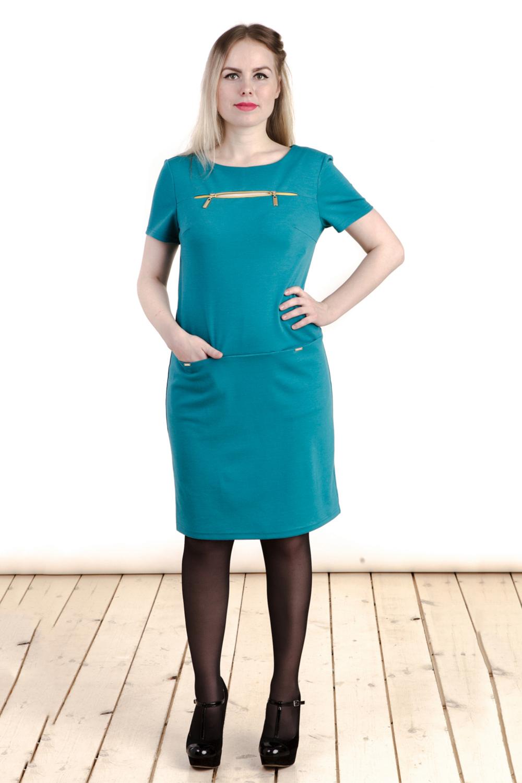 ПлатьеПлатья<br>Великолепное платье с круглой горловиной и короткими рукавами. Модель выполнена из приятного трикотажа. Отличный выбор для любого случая.  Цвет: бирюзовый  Длина изделия: 46 размер - 90 см 48 размер - 91 см 50 размер - 92 см 52 размер - 93 см 54 размер - 94 см 56 размер - 95 см  Длина рукава 20 см.  Рост девушки-фотомодели 161 см<br><br>Горловина: С- горловина<br>По длине: До колена<br>По материалу: Вискоза,Трикотаж<br>По образу: Город,Офис,Свидание<br>По рисунку: Однотонные<br>По силуэту: Полуприталенные<br>По стилю: Офисный стиль,Повседневный стиль<br>По форме: Платье - футляр<br>По элементам: С молнией,С отделочной фурнитурой<br>Разрез: Короткий,Шлица<br>Рукав: Короткий рукав<br>По сезону: Осень,Весна<br>Размер : 46,48,50,52,54,56<br>Материал: Трикотаж<br>Количество в наличии: 6