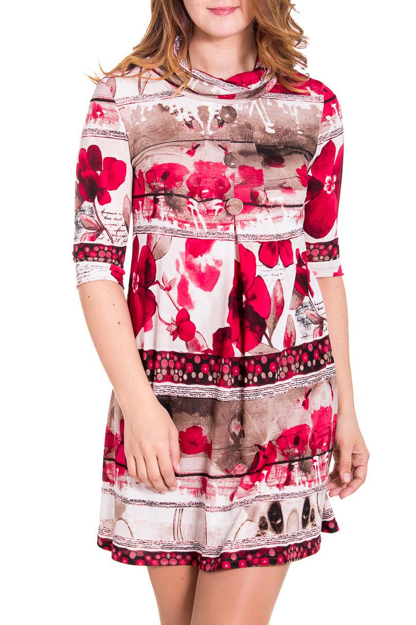 ПлатьеПлатья<br>Яркое женское платье с воротником quot;хомутquot; и рукавами 3/4. Модель выполнена из приятного трикотажа. Отличный выбор для повседневного гардероба.  Цвет: бежевый, коричневый, розовый  Рост девушки-фотомодели 180 см.<br><br>Воротник: Хомут<br>По длине: До колена<br>По материалу: Вискоза,Трикотаж<br>По рисунку: Растительные мотивы,Цветные,Цветочные,С принтом<br>По силуэту: Полуприталенные<br>По стилю: Повседневный стиль<br>Рукав: Рукав три четверти<br>По сезону: Осень,Весна,Зима<br>По форме: Платье - трапеция<br>Размер : 46,52,54<br>Материал: Трикотаж<br>Количество в наличии: 3