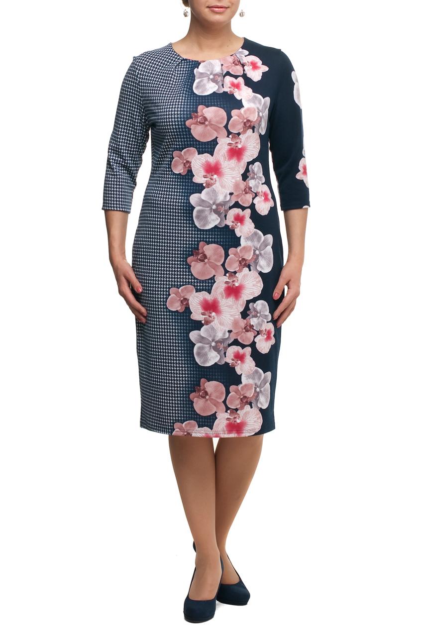 ПлатьеПлатья<br>Красивое платье с цветочным принтом. Модель выполнена из плотного трикотажа. Отличный выбор для повседневного гардероба.  В изделии использованы цвета: синий, белый, розовый и др.  Рост девушки-фотомодели 173 см.<br><br>Горловина: С- горловина<br>По длине: Ниже колена<br>По материалу: Вискоза,Трикотаж<br>По рисунку: Растительные мотивы,С принтом,Цветные,Цветочные<br>По силуэту: Полуприталенные<br>По стилю: Повседневный стиль<br>По форме: Платье - футляр<br>По элементам: С декором<br>Рукав: Рукав три четверти<br>По сезону: Осень,Весна,Зима<br>Размер : 48,50,52,54,56,58,60,64,66,68,70<br>Материал: Трикотаж<br>Количество в наличии: 15
