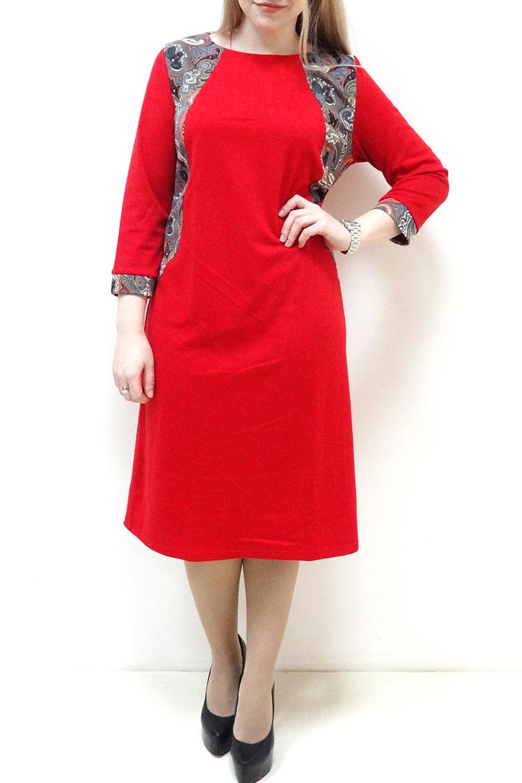 ПлатьеПлатья<br>Красивое платье с круглой горловиной и рукавами 3/4. Модель выполнена из приятного трикотажа. Отличный выбор для повседневного гардероба.  Цвет: красный, серый и др.  Рост девушки-фотомодели 162 см.<br><br>По длине: Ниже колена<br>По материалу: Вискоза,Трикотаж<br>По рисунку: С принтом,Цветные<br>По силуэту: Полуприталенные<br>По стилю: Повседневный стиль<br>По элементам: С манжетами,С декором<br>Рукав: Рукав три четверти<br>По сезону: Осень,Весна,Зима<br>Горловина: Лодочка<br>Размер : 52,54,56,60<br>Материал: Джерси<br>Количество в наличии: 6