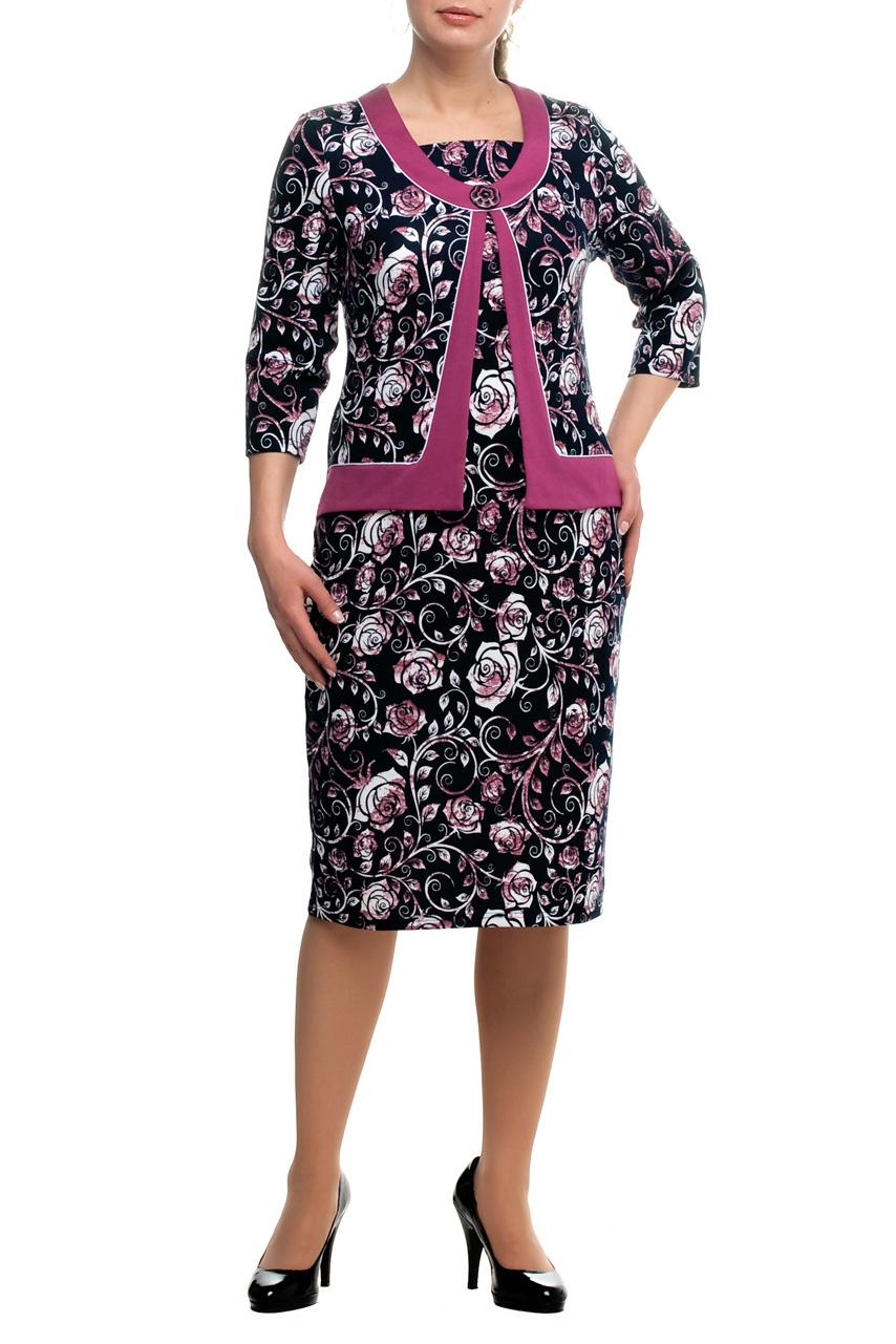 ПлатьеПлатья<br>Интересное платье с имитацией жакета. Модель выполнена из приятного трикотажа. Отличный выбор для любого случая.  В изделии использованы цвета: черный, белый, розовый.  Рост девушки-фотомодели 173 см<br><br>Горловина: Квадратная горловина<br>По длине: Ниже колена<br>По материалу: Трикотаж<br>По образу: Город,Свидание<br>По рисунку: Растительные мотивы,С принтом,Цветные,Цветочные<br>По силуэту: Приталенные<br>По стилю: Повседневный стиль<br>По форме: Платье - футляр<br>Рукав: Рукав три четверти<br>По сезону: Осень,Весна,Зима<br>Размер : 48,54,70<br>Материал: Трикотаж<br>Количество в наличии: 3
