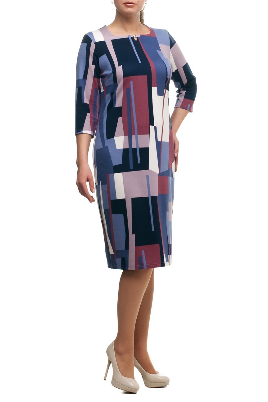 ПлатьеПлатья<br>Чудесное платье с круглой горловиной и рукавами 3/4. Модель выполнена из приятного трикотажа. Отличный выбор для повседневного гардероба.  В изделии использованы цвета: синий, розовый, молочный и др.  Рост девушки-фотомодели 173 см<br><br>Горловина: С- горловина<br>По длине: Ниже колена<br>По материалу: Трикотаж<br>По образу: Город,Свидание<br>По рисунку: Геометрия,С принтом,Цветные<br>По силуэту: Полуприталенные<br>По стилю: Повседневный стиль<br>По форме: Платье - футляр<br>По элементам: С декором<br>Рукав: Рукав три четверти<br>По сезону: Осень,Весна,Зима<br>Размер : 50<br>Материал: Трикотаж<br>Количество в наличии: 1
