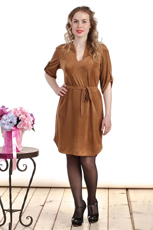 ПлатьеПлатья<br>Интересное платье полуприталенного силуэта. Модель выполнена из трикотажной замши. Отличный выбор для повседневного гардероба. Платье без пояса.  Цвет: песочный  Длина изделия: 44 размер - 91 см 46 размер - 92 см 48 размер - 93см 50 размер - 94 см 52 размер - 95 см 54 размер - 96 см 56 размер - 97 см 58 размер - 98 см  Рост девушки-фотомодели 161 см<br><br>Горловина: V- горловина,Фигурная горловина<br>По длине: До колена<br>По материалу: Вискоза,Замша,Трикотаж<br>По рисунку: Однотонные<br>По силуэту: Полуприталенные<br>По стилю: Повседневный стиль<br>По форме: Платье - футляр<br>По элементам: С патами<br>Рукав: До локтя<br>По сезону: Осень,Весна,Зима<br>Размер : 44,46,50,54<br>Материал: Искусственная замша<br>Количество в наличии: 4