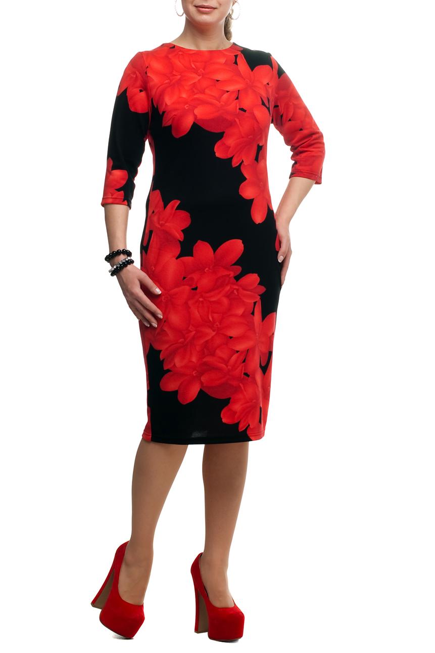 ПлатьеПлатья<br>Яркое платье с круглой горловиной и рукавами 3/4. Модель выполнена из приятного трикотажа. Отличный выбор для повседневного гардероба.  В изделии использованы цвета: черный, красный  Рост девушки-фотомодели 173 см<br><br>Горловина: С- горловина<br>По длине: Ниже колена<br>По материалу: Трикотаж<br>По рисунку: С принтом,Цветные<br>По силуэту: Приталенные<br>По стилю: Повседневный стиль<br>По форме: Платье - футляр<br>Рукав: Рукав три четверти<br>По сезону: Осень,Весна<br>Размер : 50<br>Материал: Трикотаж<br>Количество в наличии: 1