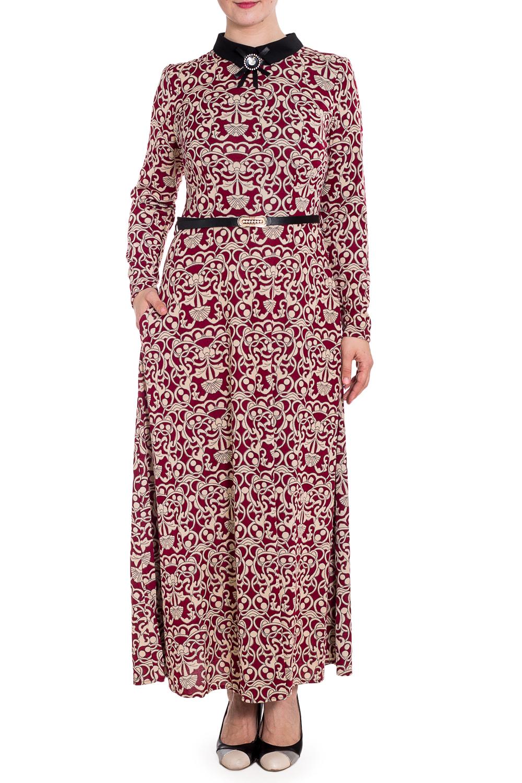 ПлатьеПлатья<br>Платье сшито из струящегося трикотажа. Карманы в боковых швах, отделано воротником из контрастной ткани, прекрасно сидит по фигуре.  Пояс и брошь не входит в комплект.  В изделии использованы цвета: бордовый, бежевый  Рост девушки-фотомодели 180 см<br><br>Воротник: Рубашечный<br>По длине: Макси<br>По материалу: Трикотаж<br>По рисунку: С принтом,Цветные<br>По силуэту: Полуприталенные<br>По стилю: Повседневный стиль<br>По форме: Платье - трапеция<br>Рукав: Длинный рукав<br>По сезону: Осень,Весна,Зима<br>Размер : 50<br>Материал: Трикотаж<br>Количество в наличии: 1