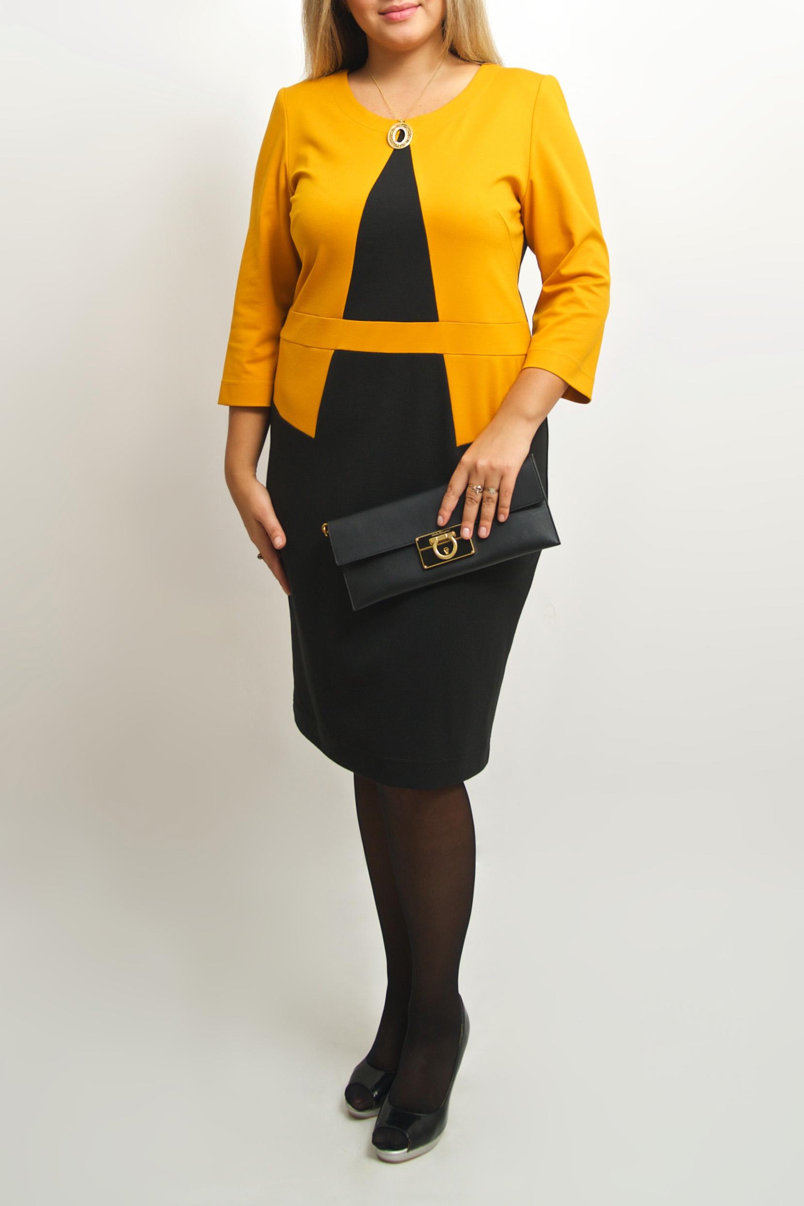 ПлатьеПлатья<br>Интересное платье с имитацией жакета и платья. Модель выполнена из мягкого трикотажа. Отличный выбор для любого случая.  В изделии использованы цвета: черный, желтый  Ростовка изделия 170 см.<br><br>Горловина: С- горловина<br>По длине: До колена<br>По материалу: Вискоза,Трикотаж<br>По рисунку: Цветные<br>По силуэту: Приталенные<br>По стилю: Повседневный стиль<br>По форме: Платье - футляр<br>Рукав: Рукав три четверти<br>По сезону: Осень,Весна,Зима<br>Размер : 46-48,50-52<br>Материал: Джерси<br>Количество в наличии: 5