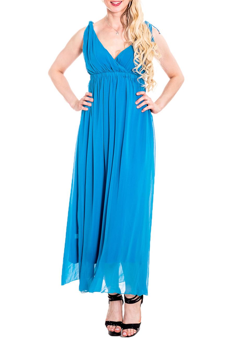 СарафанСарафаны<br>Чувственный, летний сарафан из легкого шифона и трикотажа с завышенной линией талии. Длинное платье стройнит, преображает фигуру, зрительно делает ее более пропорциональной и легкой.  Цвет: голубой  Рост девушки-фотомодели 170 см<br><br>Бретели: Широкие бретели<br>Горловина: V- горловина<br>По длине: Макси<br>По материалу: Трикотаж,Шифон<br>По рисунку: Однотонные<br>По сезону: Весна,Зима,Лето,Осень,Всесезон<br>По силуэту: Полуприталенные<br>По стилю: Греческий стиль,Нарядный стиль,Летний стиль<br>По элементам: С открытой спиной,Со складками,С подкладом<br>Рукав: Без рукавов<br>Размер : 42,44,46<br>Материал: Трикотаж + Шифон<br>Количество в наличии: 3