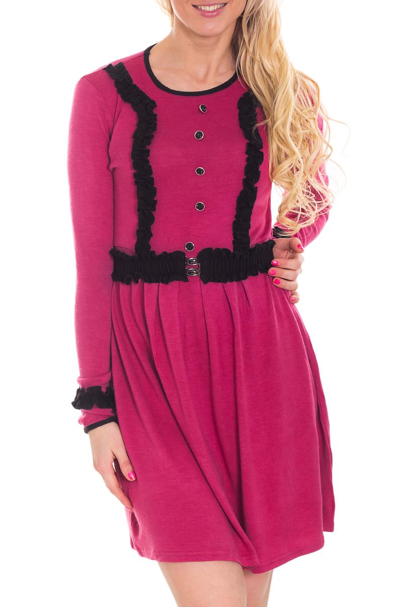 ПлатьеПлатья<br>Однотонное платье с контрастной отделкой. Модель выполнена из приятного трикотажа. Отличный выбор для повседневного гардероба. Платье без пояса.  Цвет: розовый, черный  Рост девушки-фотомодели 170 см<br><br>Горловина: С- горловина<br>По длине: До колена<br>По материалу: Трикотаж<br>По образу: Город,Свидание<br>По рисунку: Однотонные<br>По сезону: Зима,Осень,Весна<br>По силуэту: Полуприталенные<br>По стилю: Повседневный стиль<br>По элементам: С декором<br>Рукав: Длинный рукав<br>Размер : 42,44,46,48,50,52<br>Материал: Трикотаж<br>Количество в наличии: 5