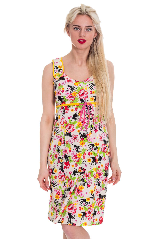 СарафанПлатья<br>Хлопковый сарафан. Домашняя одежда, прежде всего, должна быть удобной, практичной и красивой. В платье Вы будете чувствовать себя комфортно, особенно, по вечерам после трудового дня.  Цвет: белый, мультицвет  Рост девушки-фотомодели 170 см<br><br>Бретели: Широкие бретели<br>Горловина: С- горловина<br>По длине: Миди<br>По материалу: Трикотажные,Хлопковые<br>По рисунку: Леопард,Растительные мотивы,С принтом (печатью),Цветные,Цветочные<br>По сезону: Весна,Зима,Лето,Осень,Всесезон<br>По силуэту: Полуприталенные<br>По стилю: Повседневные<br>По форме: Сарафаны<br>По элементам: Без рукавов<br>Размер : 44<br>Материал: Трикотаж<br>Количество в наличии: 1