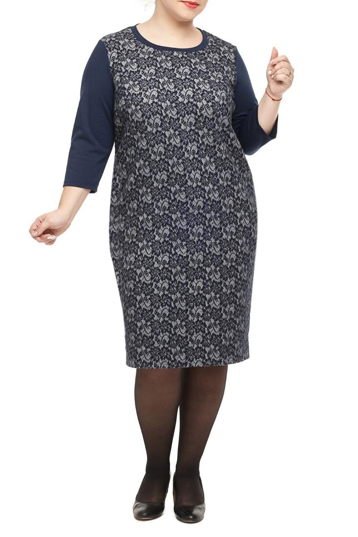 ПлатьеПлатья<br>Привлекательное платье прямого силуэта из трикотажного полотна. Вырез горловины круглый. Полочка выполнена из фактурного полотна с карманами в боковых швах. Рукав втачной 3/4.  Длина изделия по спинке: 102 см  В изделии использованы цвета: синий  Параметры размеров: 40 размер - обхват груди 80 см., обхват талии 62 см., обхват бедер 86 см. 42 размер - обхват груди 84 см., обхват талии 66 см., обхват бедер 90 см. 44 размер - обхват груди 88 см., обхват талии 70 см., обхват бедер 94 см. 46 размер - обхват груди 92 см., обхват талии 74 см., обхват бедер 98 см. 48 размер - обхват груди 96 см., обхват талии 78 см., обхват бедер 102 см. 50 размер - обхват груди 100 см., обхват талии 82 см., обхват бедер 106 см. 52 размер - обхват груди 104 см., обхват талии 86 см., обхват бедер 110 см. 54 размер - обхват груди 110 см., обхват талии 92 см., обхват бедер 116 см. 56 размер - обхват груди 116 см., обхват талии 98 см., обхват бедер 122 см. 58 размер - обхват груди 122 см., обхват талии 104 см., обхват бедер 128 см. 60 размер - обхват груди 128 см., обхват талии 110 см., обхват бедер 134 см.  Ростовка изделия 170 см.<br><br>Горловина: С- горловина<br>По длине: Ниже колена<br>По материалу: Трикотаж<br>По рисунку: С принтом,Цветные<br>По сезону: Зима,Осень,Весна<br>По силуэту: Полуприталенные<br>По стилю: Нарядный стиль,Повседневный стиль<br>По форме: Платье - футляр<br>По элементам: С карманами<br>Рукав: Рукав три четверти<br>Размер : 50,52,54,56,58,60<br>Материал: Трикотаж<br>Количество в наличии: 11