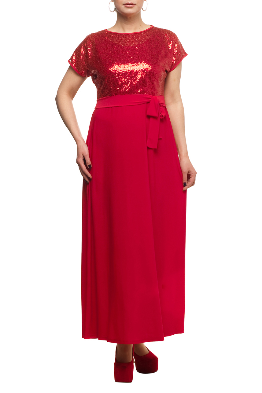 ПлатьеПлатья<br>Нарядное платье с имитацией накидки из ткани с пайетками. Модель выполнена из приятных материалов. Отличный выбор для любого торжества.  Цвет: красный  Рост девушки-фотомодели 173 см.<br><br>Горловина: С- горловина<br>По длине: Макси<br>По материалу: Гипюр,Трикотаж<br>По рисунку: Однотонные<br>По сезону: Весна,Зима,Лето,Осень,Всесезон<br>По стилю: Нарядный стиль,Вечерний стиль<br>По форме: Платье - трапеция<br>Рукав: Короткий рукав<br>Размер : 48,50,52,54,56,58,60,62,64,66,68,70<br>Материал: Холодное масло + Гипюровая сетка<br>Количество в наличии: 13