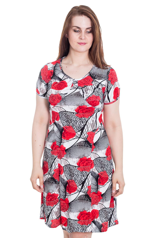ПлатьеПлатья<br>Цветное платье с короткими рукавами. Домашняя одежда, прежде всего, должна быть удобной, практичной и красивой. В наших изделиях Вы будете чувствовать себя комфортно, особенно, по вечерам после трудового дня.  Цвет: серый, красный.  Рост девушки-фотомодели 180 см<br><br>Горловина: С- горловина<br>По материалу: Хлопковые<br>По рисунку: С принтом (печатью),Цветные,Цветочные<br>По сезону: Весна,Зима,Лето,Осень,Всесезон<br>По силуэту: Полуприталенные<br>По стилю: Повседневные<br>По форме: Платья<br>Рукав: Короткий рукав<br>Размер : 48,50,52,54,56,58,60,62<br>Материал: Хлопок<br>Количество в наличии: 6
