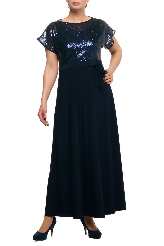 ПлатьеПлатья<br>Нарядное платье с имитацией накидки из ткани с пайетками. Модель выполнена из приятных материалов. Отличный выбор для любого торжества.  Цвет: темно-синий  Рост девушки-фотомодели 173 см.<br><br>Горловина: С- горловина<br>По длине: Макси<br>По материалу: Гипюр,Трикотаж<br>По рисунку: Однотонные<br>По сезону: Весна,Зима,Лето,Осень,Всесезон<br>По стилю: Нарядный стиль,Вечерний стиль<br>По форме: Платье - трапеция<br>Рукав: Короткий рукав<br>Размер : 48,58,60,64,68,70<br>Материал: Холодное масло + Гипюровая сетка<br>Количество в наличии: 8