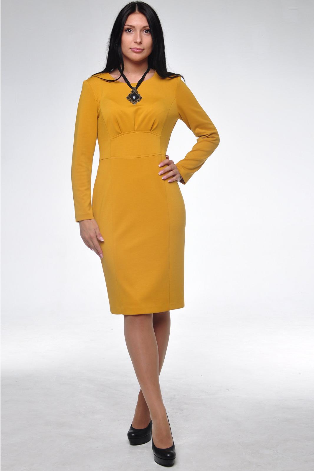 ПлатьеПлатья<br>Безупречный образ в этом элегантном платье Вам обеспечен Оно выполнено из плотного высококачественного джерси, которое в процессе носки не подвержено образованию катышков. Стройный силуэт помогает создать деталь, подчеркивающая талию. На спинке молния, юбка-карандаш со шлицей. Рукав цельнокройный, длинный. Прекрасный вариант платья на любой случай.  Цвет: желтый  Ростовка изделия 170 см.<br><br>Горловина: С- горловина<br>По длине: Ниже колена<br>По материалу: Вискоза,Трикотаж<br>По образу: Город,Офис,Свидание<br>По рисунку: Однотонные<br>По силуэту: Полуприталенные<br>По стилю: Офисный стиль,Повседневный стиль<br>По форме: Платье - футляр<br>По элементам: С разрезом<br>Разрез: Короткий,Шлица<br>Рукав: Длинный рукав<br>По сезону: Осень,Весна<br>Размер : 50<br>Материал: Джерси<br>Количество в наличии: 1