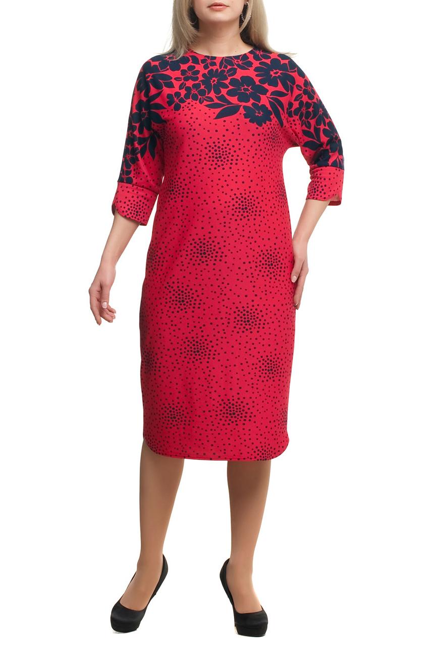 ПлатьеПлатья<br>Эффектное платье с круглой горловиной и рукавами 3/4. Модель выполнена из приятного трикотажа. Отличный выбор для любого случая.  В изделии использованы цвета: розово-красный, темно-синий  Рост девушки-фотомодели 173 см<br><br>Горловина: С- горловина<br>По длине: Ниже колена<br>По материалу: Трикотаж<br>По рисунку: В горошек,Растительные мотивы,С принтом,Цветные,Цветочные<br>По силуэту: Полуприталенные<br>По стилю: Повседневный стиль<br>По форме: Платье - футляр<br>Рукав: Рукав три четверти<br>По сезону: Осень,Весна,Зима<br>Размер : 64,70<br>Материал: Трикотаж<br>Количество в наличии: 3