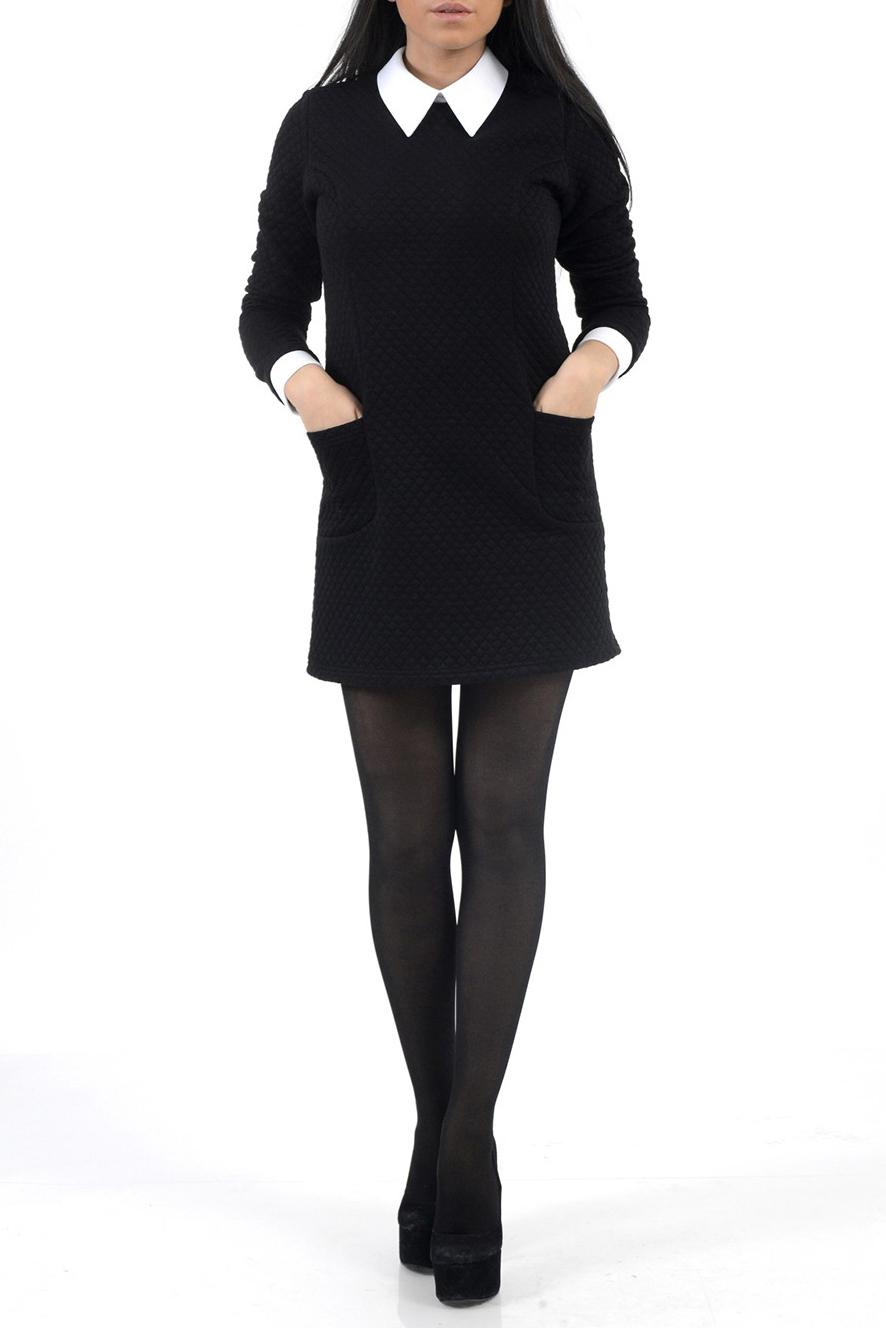 ПлатьеПлатья<br>Женское платье с рубашечным воротником и рукавами 3/4. Модель выполнена из плотного материала. Отличный вариант для любого случая.  Цвет: черный, белый<br><br>Воротник: Рубашечный<br>По материалу: Вискоза,Трикотаж<br>По образу: Город,Офис<br>По рисунку: Однотонные<br>По сезону: Весна,Осень<br>По силуэту: Полуприталенные<br>По элементам: С воротником,С карманами,С манжетами<br>Рукав: Рукав три четверти<br>По стилю: Повседневный стиль,Винтаж,Классический стиль,Офисный стиль<br>По длине: До колена,Мини<br>По форме: Платье - трапеция<br>Размер : 42,44<br>Материал: Трикотаж<br>Количество в наличии: 2