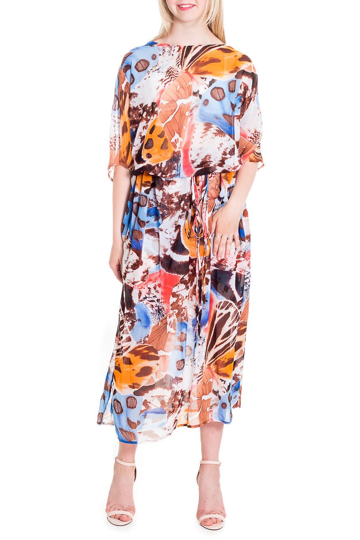 ПлатьеПлатья<br>Яркое платье длиной миди. Модель выполнена из воздушного шифона. Отличный выбор для повседневного гардероба.  В изделии использованы цвета: коричневый, белый, оранжевый и др.  Рост девушки-фотомодели 170 см.<br><br>Горловина: С- горловина<br>По длине: Миди<br>По материалу: Шифон<br>По образу: Город<br>По рисунку: С принтом,Цветные<br>По силуэту: Полуприталенные<br>По стилю: Повседневный стиль<br>Рукав: До локтя<br>По сезону: Лето<br>Размер : 44,46,48<br>Материал: Шифон<br>Количество в наличии: 6