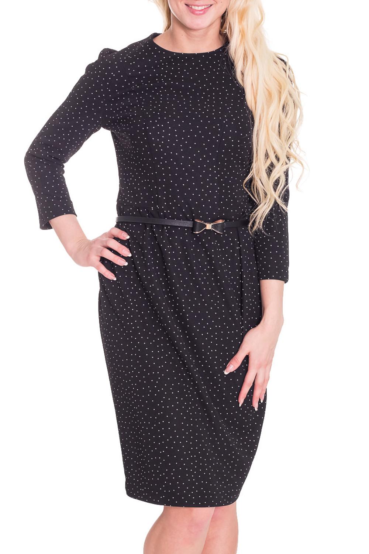 ПлатьеПлатья<br>Красивое платье с круглой горловиной и длинными рукавами. Модель выполнена из приятного материала. Отличный выбор для любого случая. Платье дополнено поясом.  Цвет: черный, белый  Рост девушки-фотомодели 170 см.<br><br>Горловина: С- горловина<br>По длине: До колена<br>По материалу: Трикотаж<br>По образу: Город,Свидание<br>По рисунку: В горошек,Цветные,С принтом<br>По сезону: Весна,Осень<br>По силуэту: Полуприталенные<br>По стилю: Повседневный стиль<br>По форме: Платье - футляр<br>По элементам: С поясом<br>Рукав: Рукав три четверти<br>Размер : 44<br>Материал: Трикотаж<br>Количество в наличии: 1