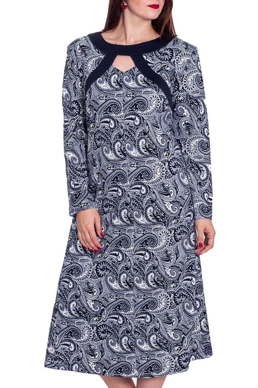 ПлатьеПлатья<br>Женское платье с круглой горловиной и длинными рукавами. Модель выполнена из плотного трикотажа. Отличный выбор для повседневного гардероба. Ростовка изделия 170 см.   В изделии использованы цвета: темно-синий, белый и др.  Рост девушки-фотомодели 180 см.<br><br>Горловина: С- горловина<br>По длине: Ниже колена<br>По материалу: Трикотаж<br>По образу: Город<br>По рисунку: С принтом,Цветные,Этнические<br>По силуэту: Полуприталенные<br>По стилю: Повседневный стиль<br>По форме: Платье - трапеция<br>По элементам: С декором<br>Рукав: Длинный рукав<br>По сезону: Осень,Весна,Зима<br>Размер : 60,62,64,66,70,72,74,76,78<br>Материал: Трикотаж<br>Количество в наличии: 9