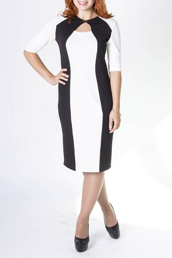 ПлатьеПлатья<br>Замечательное платье с декоративной капелькой и рукавами 3/4. Модель выполнена из плотного трикотажа. Отличный выбор для любого случая.  Цвет: черный, белый  Ростовка изделия 170 см<br><br>Горловина: С- горловина<br>По длине: Ниже колена<br>По материалу: Трикотаж<br>По рисунку: Цветные<br>По сезону: Весна,Осень,Зима<br>По силуэту: Полуприталенные<br>По стилю: Офисный стиль,Повседневный стиль<br>По форме: Платье - футляр<br>По элементам: С разрезом<br>Разрез: Короткий<br>Рукав: Рукав три четверти<br>Размер : 44,48<br>Материал: Джерси<br>Количество в наличии: 2
