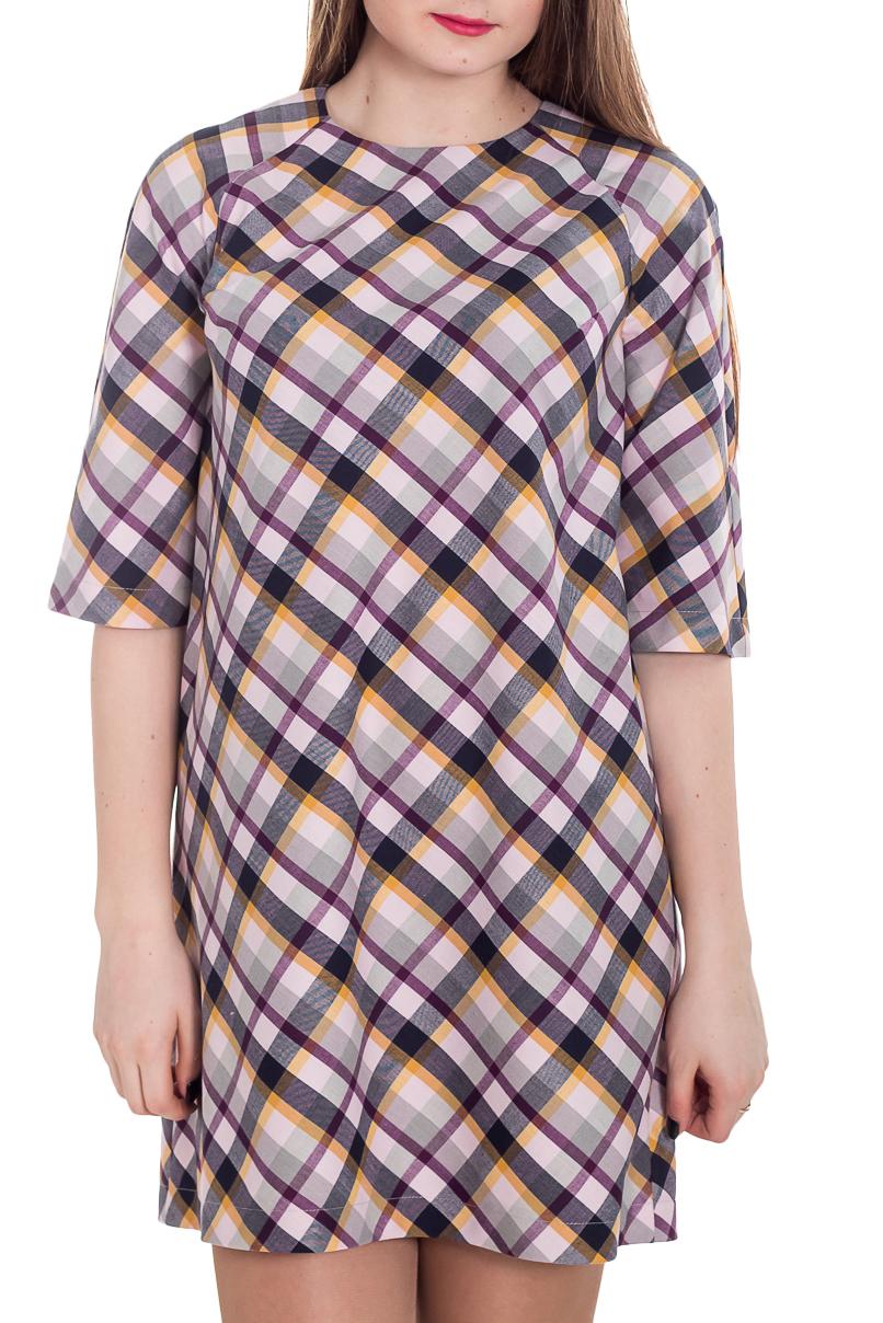 ПлатьеПлатья<br>Это симпатичное платье будет изумительным вариантом повседневного или выходного наряда. Изумительно садясь по фигуре, это платье маскирует проблемные зоны. Ростовка изделия 164 см.  Цвет: серый, фиолетовый, желтый  Рост девушки-фотомодели 183 см<br><br>Горловина: С- горловина<br>По длине: До колена<br>По материалу: Тканевые<br>По рисунку: С принтом,Цветные,В клетку<br>По силуэту: Свободные<br>По стилю: Повседневный стиль<br>По форме: Платье - трапеция<br>Рукав: До локтя<br>По сезону: Осень,Весна,Зима<br>Размер : 44,50<br>Материал: Плательная ткань<br>Количество в наличии: 2