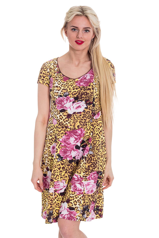 ПлатьеПлатья<br>Хлопковое платье. Домашняя одежда, прежде всего, должна быть удобной, практичной и красивой. В платье Вы будете чувствовать себя комфортно, особенно, по вечерам после трудового дня.  Цвет: желтый, коричневый, розовый  Рост девушки-фотомодели 170 см<br><br>Горловина: С- горловина<br>По рисунку: Леопард,Растительные мотивы,Цветные,Цветочные,С принтом<br>По сезону: Весна,Зима,Лето,Осень,Всесезон<br>По силуэту: Полуприталенные<br>По форме: Платья<br>Рукав: Короткий рукав<br>По длине: До колена<br>По материалу: Трикотаж,Хлопок<br>Размер : 46<br>Материал: Трикотаж<br>Количество в наличии: 1