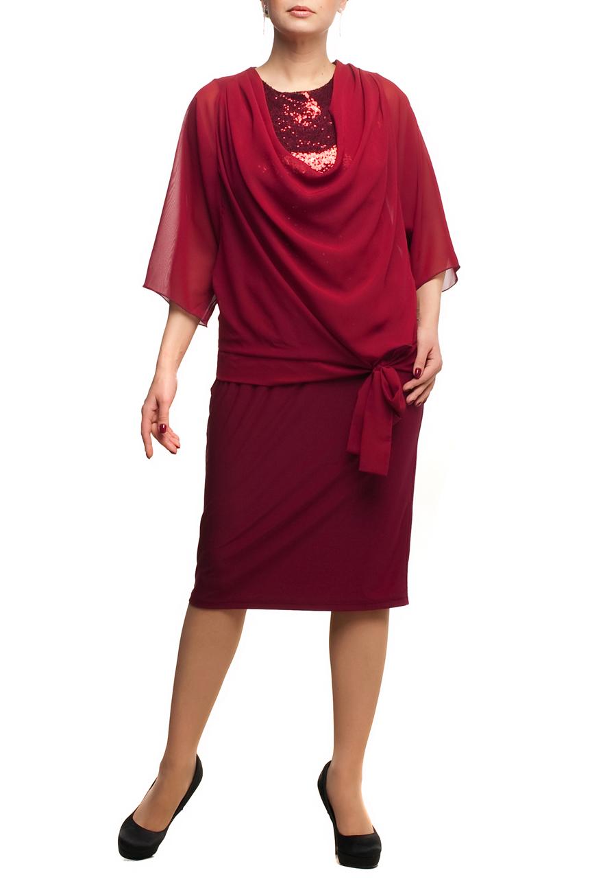 ПлатьеПлатья<br>Нарядное платье с имитацией накидки из воздушного шифона. Модель выполнена из приятных материалов. Отличный выбор для любого торжества.  Цвет: бордовый  Рост девушки-фотомодели 173 см.<br><br>Горловина: С- горловина<br>По длине: Ниже колена<br>По материалу: Трикотаж,Шифон<br>По рисунку: Однотонные<br>По сезону: Весна,Зима,Лето,Осень,Всесезон<br>По силуэту: Полуприталенные<br>По стилю: Нарядный стиль,Вечерний стиль<br>По элементам: С декором<br>Рукав: Рукав три четверти<br>Размер : 48,52,54,56,58,60,66<br>Материал: Холодное масло + Шифон<br>Количество в наличии: 8