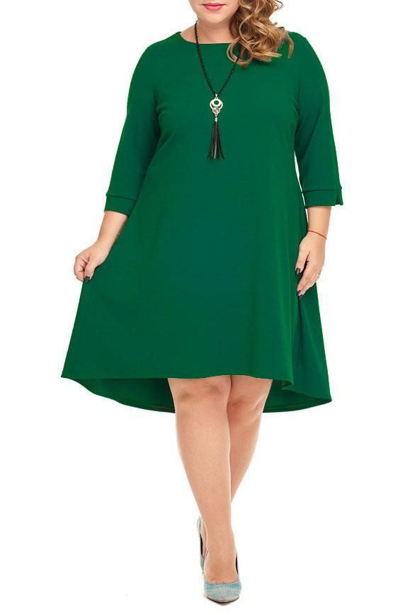 ПлатьеПлатья<br>Восхитительное платье свободного силуэта. Отрезное на спинке, по линии талии мягкие складки. Низ платья ассиметричный, спинка длиннее переда. Рукав втачной 3/4, низ рукава завершает манжет с разрезом.   Длина изделия по спинке: 99 см  В изделии использованы цвета: зеленый  Ростовка изделия 164-170 см.  Параметры размеров: 40 размер - обхват груди 80 см., обхват талии 62 см., обхват бедер 86 см. 42 размер - обхват груди 84 см., обхват талии 66 см., обхват бедер 90 см. 44 размер - обхват груди 88 см., обхват талии 70 см., обхват бедер 94 см. 46 размер - обхват груди 92 см., обхват талии 74 см., обхват бедер 98 см. 48 размер - обхват груди 96 см., обхват талии 78 см., обхват бедер 102 см. 50 размер - обхват груди 100 см., обхват талии 82 см., обхват бедер 106 см. 52 размер - обхват груди 104 см., обхват талии 86 см., обхват бедер 110 см. 54 размер - обхват груди 110 см., обхват талии 92 см., обхват бедер 116 см. 56 размер - обхват груди 116 см., обхват талии 98 см., обхват бедер 122 см. 58 размер - обхват груди 122 см., обхват талии 104 см., обхват бедер 128 см. 60 размер - обхват груди 128 см., обхват талии 110 см., обхват бедер 134 см.<br><br>Горловина: С- горловина<br>Рукав: Рукав три четверти<br>Длина: До колена<br>Материал: Трикотаж<br>Рисунок: Однотонные<br>Сезон: Весна,Осень<br>Силуэт: Полуприталенные<br>Стиль: Кэжуал,Повседневный стиль<br>Форма: Платье - трапеция<br>Элементы: С фигурным низом<br>Размер : 50,52,54,56<br>Материал: Трикотаж<br>Количество в наличии: 7