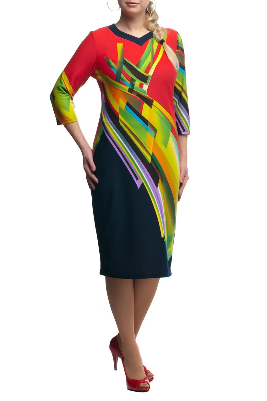 ПлатьеПлатья<br>Яркое платье с фигурной горловиной и рукавами 3/4. Модель выполнена из приятного трикотажа. Отличный выбор для повседневного гардероба.  В изделии использованы цвета: красный, зеленый и др.  Рост девушки-фотомодели 173 см<br><br>Горловина: Фигурная горловина<br>По длине: Ниже колена<br>По материалу: Трикотаж<br>По рисунку: С принтом,Цветные<br>По силуэту: Полуприталенные<br>По стилю: Повседневный стиль<br>По форме: Платье - футляр<br>Рукав: Рукав три четверти<br>По сезону: Осень,Весна,Зима<br>Размер : 48,50<br>Материал: Трикотаж<br>Количество в наличии: 3