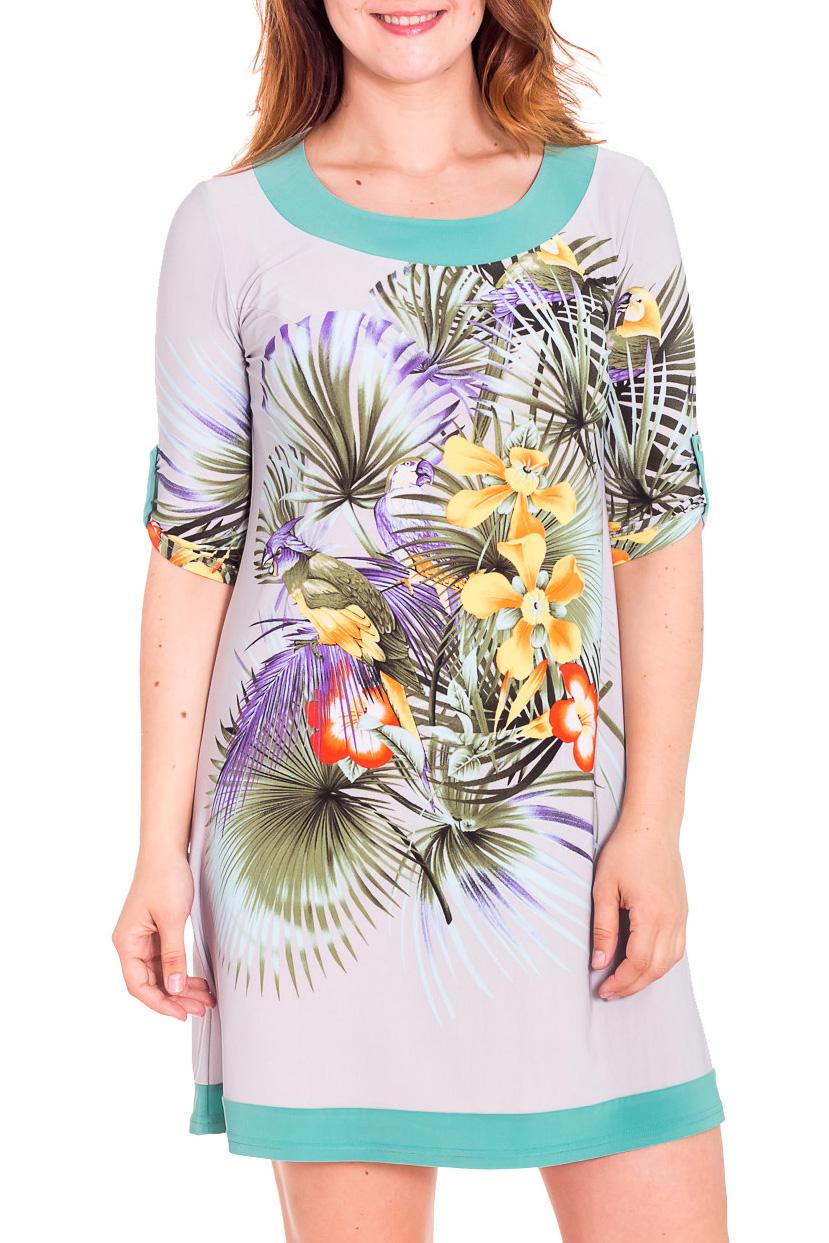 ПлатьеПлатья<br>Повседневное женское платье с воротником quot;хомутquot; и рукавами 3/4. Модель выполнена из приятного трикотажа. Отличный выбор для любого случая. Платье дополнено поясом.  Цвет: белый, мультицвет  Рост девушки-фотомодели 180 см.<br><br>Горловина: С- горловина<br>По длине: До колена<br>По материалу: Трикотаж<br>По рисунку: Растительные мотивы,Цветные,Цветочные,С принтом<br>По силуэту: Полуприталенные<br>По стилю: Повседневный стиль,Летний стиль<br>По форме: Платье - трапеция<br>По элементам: С патами<br>По сезону: Лето,Весна<br>Рукав: Рукав три четверти<br>Размер : 44,50<br>Материал: Холодное масло<br>Количество в наличии: 2