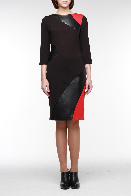 ПлатьеПлатья<br>Стильное платье из высококачественного джерси двух цветов с отделкой из искусственной кожи. На спинке молния 50 см. и шлица. Рукав 3/4, горловина обработана обтачкой. В этом платье вы всегда безупречны.  Цвет: черный, красный  Рост девушки-фотомодели 177 см<br><br>Горловина: С- горловина<br>По материалу: Вискоза,Трикотаж<br>По образу: Город,Свидание<br>По рисунку: Цветные<br>По сезону: Весна,Осень,Зима<br>По стилю: Повседневный стиль<br>По форме: Платье - футляр<br>Рукав: Рукав три четверти<br>По длине: До колена<br>По силуэту: Приталенные<br>По элементам: С кожаными вставками<br>Размер : 42,44,46<br>Материал: Джерси<br>Количество в наличии: 4