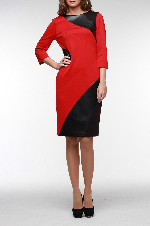 ПлатьеПлатья<br>Стильное и яркое платье из высококачественного джерси двух цветов с отделкой из искусственной кожи На спинке молния 50 см. и шлица. Рукав 3/4, горловина обработана обтачкой. В этом платье вы всегда безупречны.  Цвет: красный, черный  Рост девушки-фотомодели 177 см<br><br>Горловина: С- горловина<br>По материалу: Вискоза,Трикотаж,Искусственная кожа<br>По образу: Город,Свидание<br>По рисунку: Цветные<br>По сезону: Весна,Осень,Зима<br>По стилю: Повседневный стиль<br>По форме: Платье - футляр<br>Рукав: Рукав три четверти<br>По элементам: С кожаными вставками,С разрезом<br>По длине: До колена<br>По силуэту: Приталенные<br>Разрез: Короткий,Шлица<br>Размер : 42,44,46,56<br>Материал: Джерси<br>Количество в наличии: 5