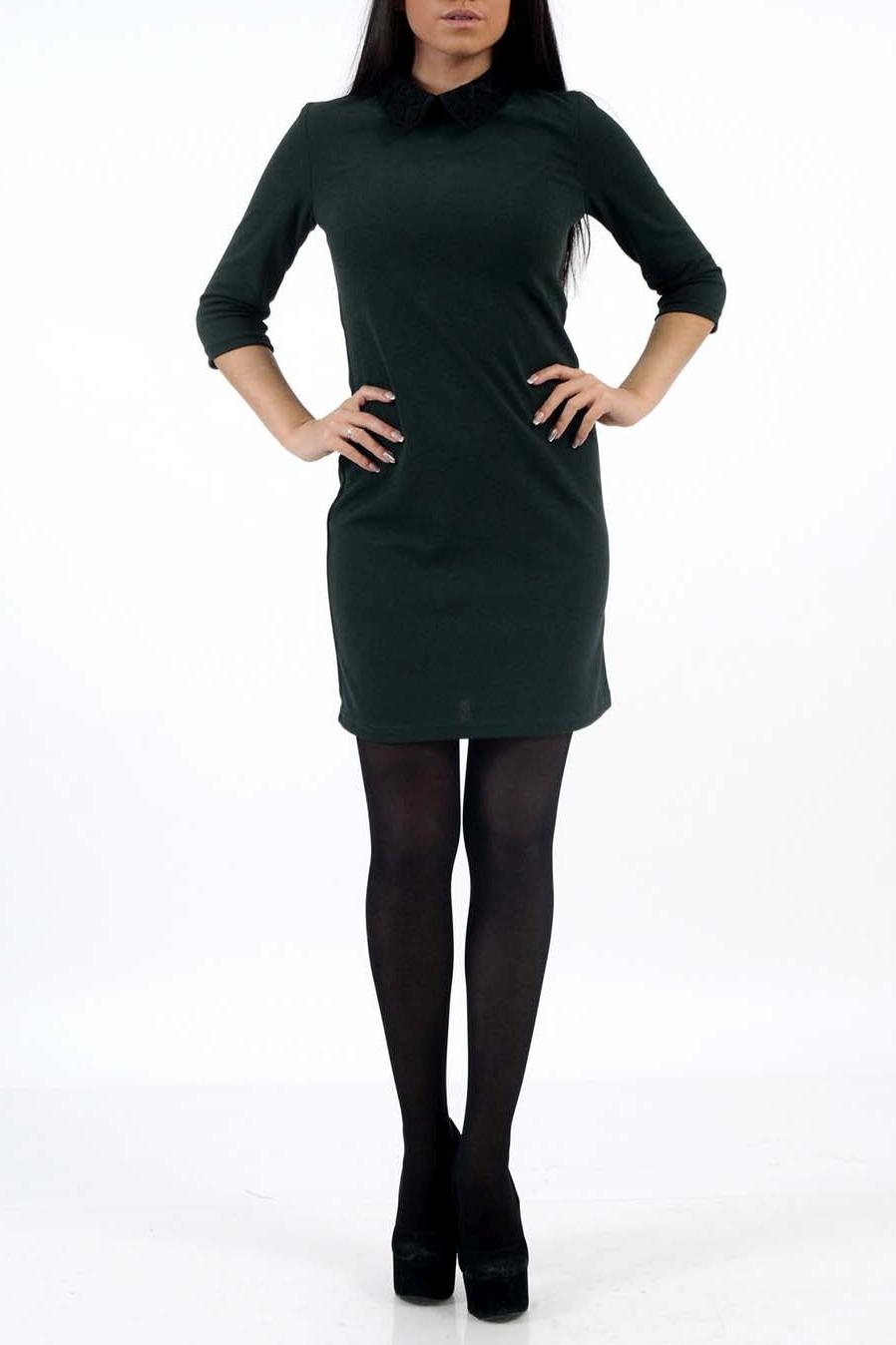 ПлатьеПлатья<br>Женское платье с рубашечным воротником и рукавами 3/4. Модель выполнена из плотного материала. Отличный вариант для любого случая.  Цвет: зеленый<br><br>Воротник: Рубашечный<br>По длине: Миди<br>По материалу: Вискоза,Трикотаж<br>По образу: Город,Офис,Свидание<br>По рисунку: Однотонные<br>По сезону: Весна,Зима,Осень<br>По силуэту: Полуприталенные<br>По элементам: С воротником,С декором<br>Рукав: Рукав три четверти<br>По форме: Платье - футляр<br>По стилю: Молодежный стиль,Повседневный стиль<br>Размер : 42,44,46<br>Материал: Джерси<br>Количество в наличии: 3