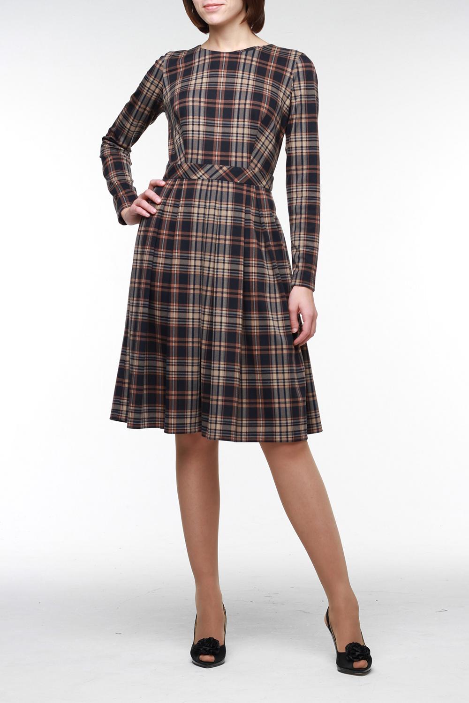 ПлатьеПлатья<br>Теплое, уютное платье из мягкого эластичного джерси в модную клетку. Длинный рукав, горловина обработана обтачкой, на спинке молния длиной 50 см.По талии втачной пояс, который хорошо держит юбку с мягкими встречными складками. Прекрасный выбор на каждый день.  Цвет: бежевый, коричневый, черный  Рост девушки-фотомодели 176 см<br><br>Горловина: С- горловина<br>По длине: До колена<br>По материалу: Вискоза,Тканевые<br>По рисунку: Цветные,В клетку,С принтом<br>По сезону: Зима,Весна,Осень<br>По стилю: Офисный стиль,Повседневный стиль<br>По форме: Платье - трапеция<br>Рукав: Длинный рукав<br>По силуэту: Приталенные<br>Размер : 42<br>Материал: Костюмно-плательная ткань<br>Количество в наличии: 1