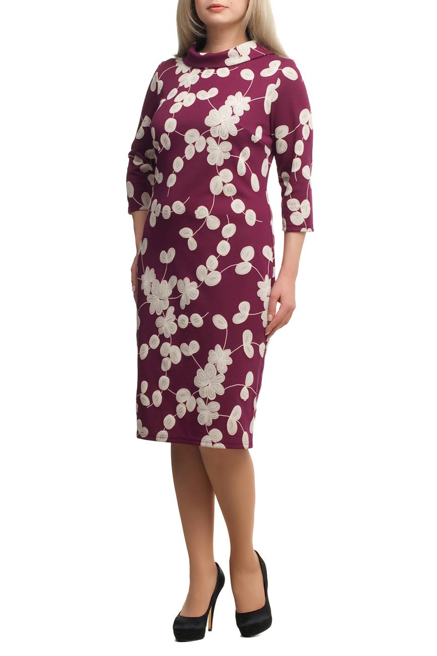 ПлатьеПлатья<br>Чудесное платье с интересной горловиной и рукавами 3/4. Модель выполнена из приятного трикотажа. Отличный выбор для повседневного гардероба.  В изделии использованы цвета: бордовый, серый, белый  Рост девушки-фотомодели 173 см.<br><br>Воротник: Стойка<br>По длине: Ниже колена<br>По материалу: Трикотаж<br>По рисунку: С принтом,Цветные<br>По сезону: Зима,Осень,Весна<br>По силуэту: Приталенные<br>По стилю: Повседневный стиль<br>По форме: Платье - футляр<br>Рукав: Рукав три четверти<br>Размер : 64,66,70<br>Материал: Трикотаж<br>Количество в наличии: 3