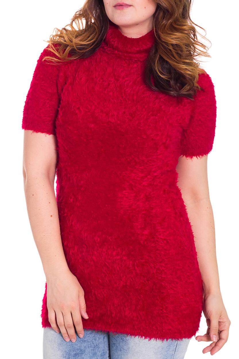 Платье-туникаТуники<br>Теплое женское платье-туника с воротником стойка и короткими рукавами. Модель выполнена из вязанного полотна. Отличный выбор для любого случая.  Цвет: красный  Рост девушки-фотомодели 180 см<br><br>Воротник: Стойка<br>По материалу: Вязаные,Трикотаж<br>По образу: Город<br>По рисунку: Однотонные<br>По сезону: Весна,Осень<br>По силуэту: Приталенные<br>По стилю: Повседневный стиль<br>Рукав: Короткий рукав<br>Размер : 46,48,50<br>Материал: Вязаное полотно<br>Количество в наличии: 9