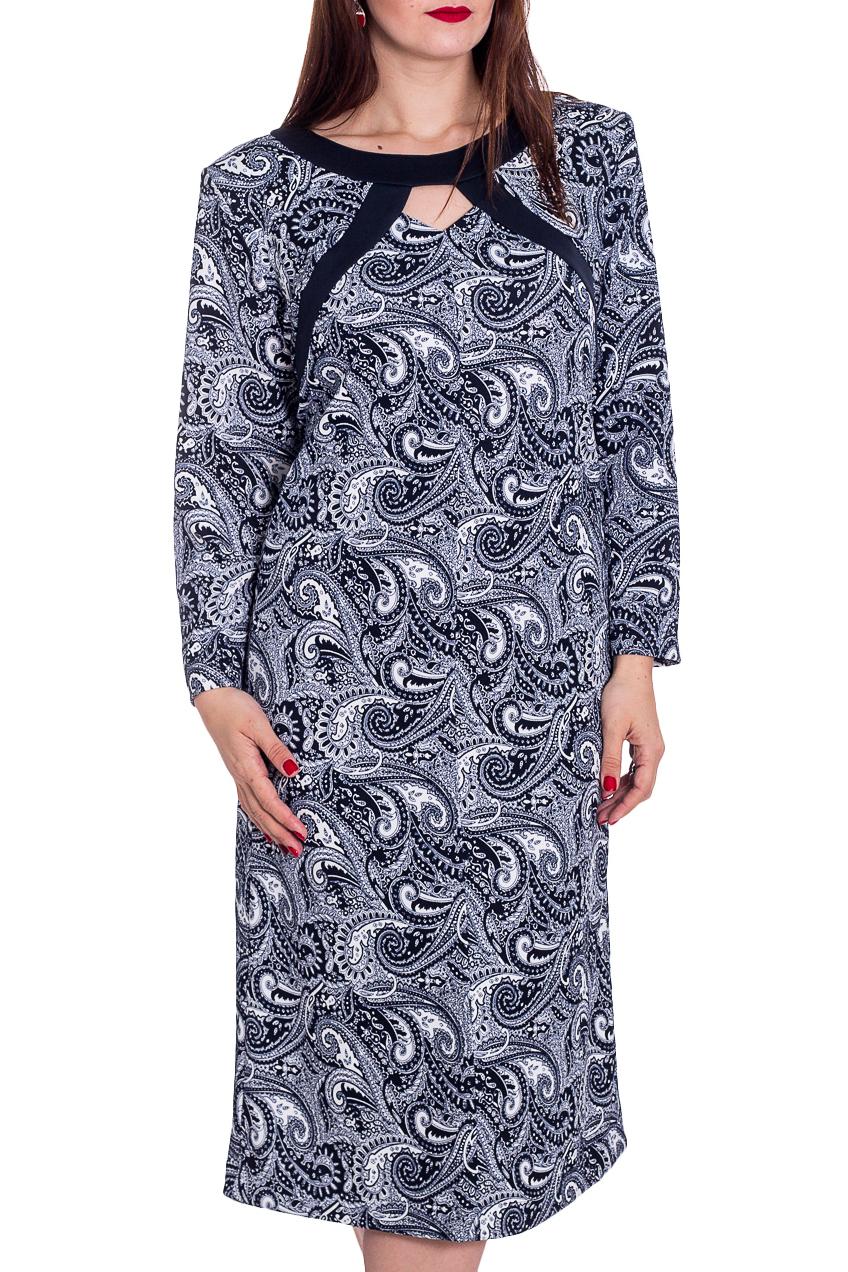 ПлатьеПлатья<br>Женское платье с круглой горловиной и длинными рукавами. Модель выполнена из плотного трикотажа. Отличный выбор для повседневного гардероба. Ростовка изделия 164 см.   В изделии использованы цвета: темно-синий, белый и др.  Рост девушки-фотомодели 180 см.<br><br>Горловина: С- горловина<br>По длине: Ниже колена<br>По материалу: Трикотаж<br>По рисунку: С принтом,Цветные,Этнические<br>По силуэту: Полуприталенные<br>По стилю: Повседневный стиль<br>По форме: Платье - трапеция<br>По элементам: С декором<br>Рукав: Длинный рукав<br>По сезону: Осень,Весна,Зима<br>Размер : 60,62,64,66,68,74,76,78<br>Материал: Трикотаж<br>Количество в наличии: 8