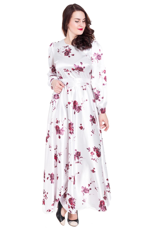 ПлатьеПлатья<br>Нарядное платье с круглой горловиной и длинными рукавами. Модель выполнена из гладкого атласа. Отличный выбор для любого торжества.  Цвет: белый, розовый  Рост девушки-фотомодели 180 см.<br><br>По образу: Выход в свет,Свидание<br>По стилю: Нарядный стиль<br>По материалу: Атлас,Хлопок<br>По рисунку: Растительные мотивы,С принтом,Цветные,Цветочные<br>По сезону: Всесезон,Зима,Лето,Осень,Весна<br>По силуэту: Полуприталенные<br>По форме: Платье - трапеция<br>По длине: Макси<br>Рукав: Длинный рукав<br>Горловина: С- горловина<br>Размер: 48,50,52,54<br>Материал: 50% хлопок 45% полиэстер 5% эластан<br>Количество в наличии: 2