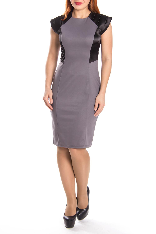 ПлатьеПлатья<br>Замечательное платье с короткими рукавами. Модель выполнена из плотного трикотажа. Отличный выбор для любого случая.  Цвет: серо-сиреневый, черный  Длина по спинке: 44-95 см 46-96 см 48-97 см 50-98 см 52-99 см 54-100 см<br><br>Горловина: С- горловина<br>По длине: До колена<br>По материалу: Трикотаж<br>По сезону: Весна,Осень<br>По силуэту: Полуприталенные<br>По стилю: Офисный стиль,Повседневный стиль<br>По форме: Платье - футляр<br>По элементам: С декором,С кожаными вставками<br>Рукав: Короткий рукав<br>По рисунку: Цветные<br>Размер : 46,48,50<br>Материал: Трикотаж<br>Количество в наличии: 3