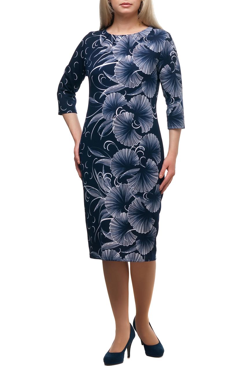 ПлатьеПлатья<br>Повседневное платье с круглой горловиной и рукавами 3/4. Модель выполнена из плотного трикотажа. Отличный выбор для повседневного гардероба.  В изделии использованы цвета: синий, белый  Рост девушки-фотомодели 173 см.<br><br>Горловина: С- горловина<br>По длине: Ниже колена<br>По материалу: Трикотаж<br>По рисунку: Растительные мотивы,С принтом,Цветные,Цветочные<br>По сезону: Зима,Осень,Весна<br>По силуэту: Полуприталенные<br>По стилю: Повседневный стиль<br>По форме: Платье - футляр<br>Рукав: Рукав три четверти<br>Размер : 48,56,66<br>Материал: Трикотаж<br>Количество в наличии: 3