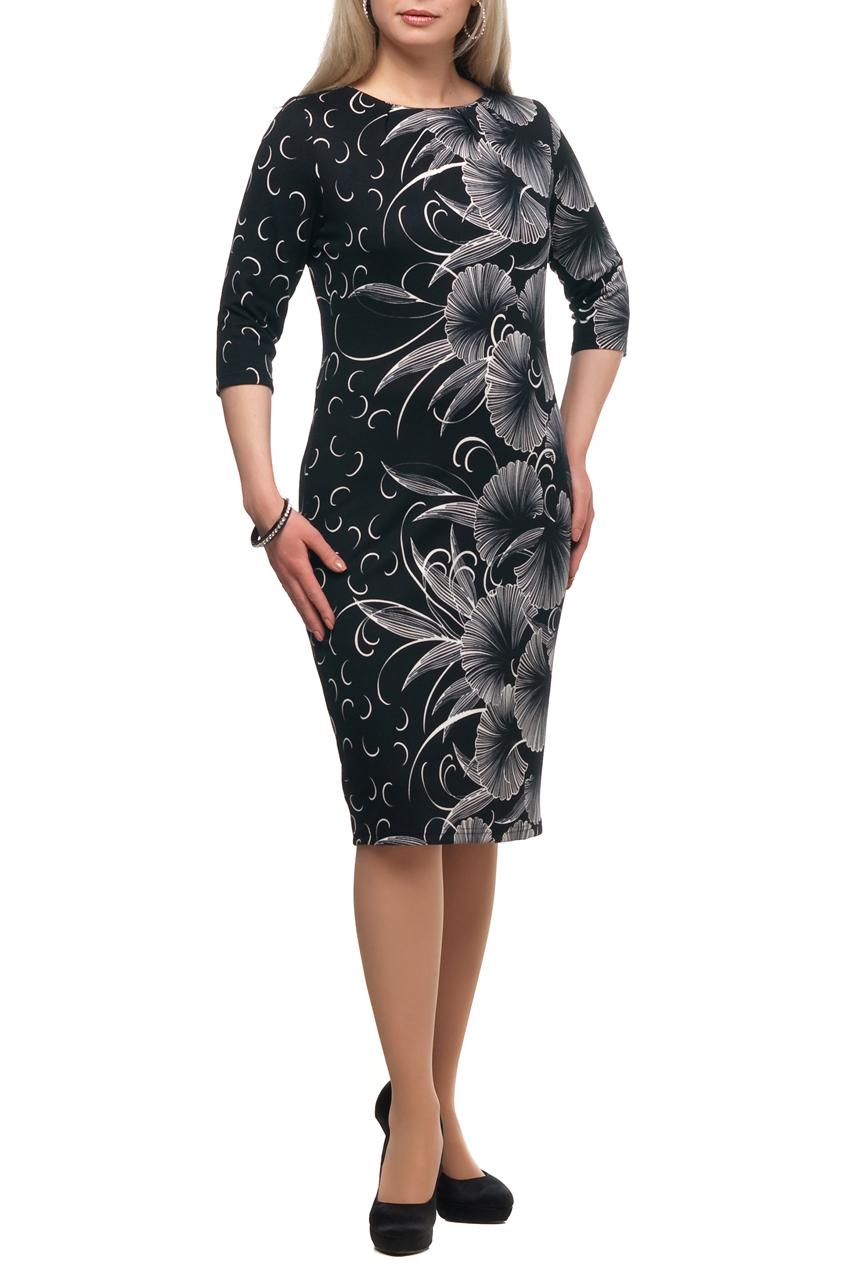 ПлатьеПлатья<br>Повседневное платье с круглой горловиной и рукавами 3/4. Модель выполнена из плотного трикотажа. Отличный выбор для повседневного гардероба.  В изделии использованы цвета: черный, белый  Рост девушки-фотомодели 173 см.<br><br>Горловина: С- горловина<br>По длине: Ниже колена<br>По материалу: Трикотаж<br>По рисунку: Растительные мотивы,С принтом,Цветные,Цветочные<br>По сезону: Зима,Осень,Весна<br>По силуэту: Полуприталенные<br>По стилю: Повседневный стиль<br>По форме: Платье - футляр<br>Рукав: Рукав три четверти<br>Размер : 48,70<br>Материал: Трикотаж<br>Количество в наличии: 2